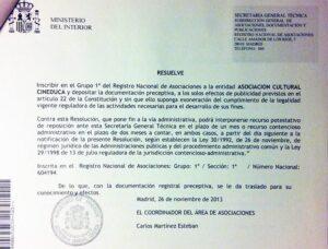 Resolución por la que se otorga a Cineduca su inscripción en el Registro Nacional de Asociaciones