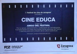 Diploma acreditativo a Cineduca como amigo del FCZ