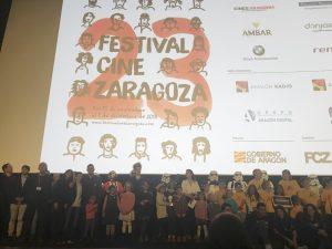 Entrega de premios a los cortometrajes ganadores en la SAla 16 de los Cines Aragonia de Zaragoza